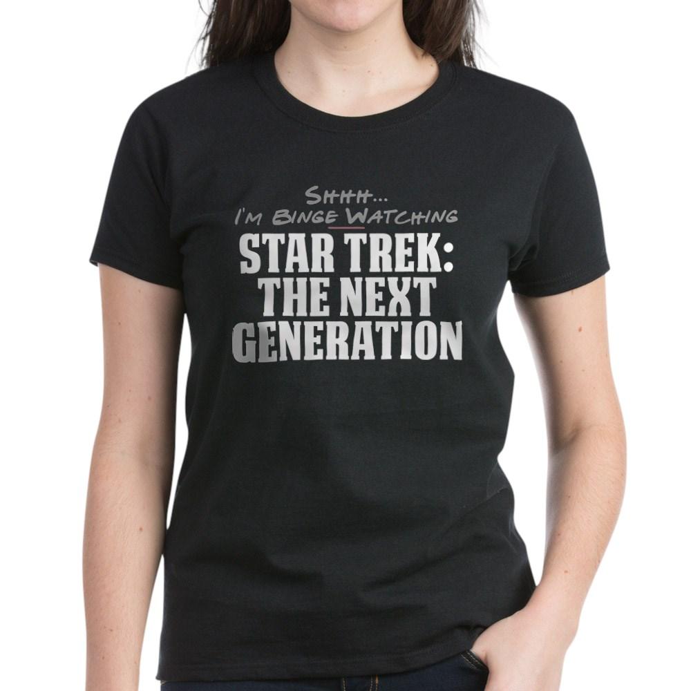 Shhh... I'm Binge Watching Star Trek: The Next Generation Women's Dark T-Shirt