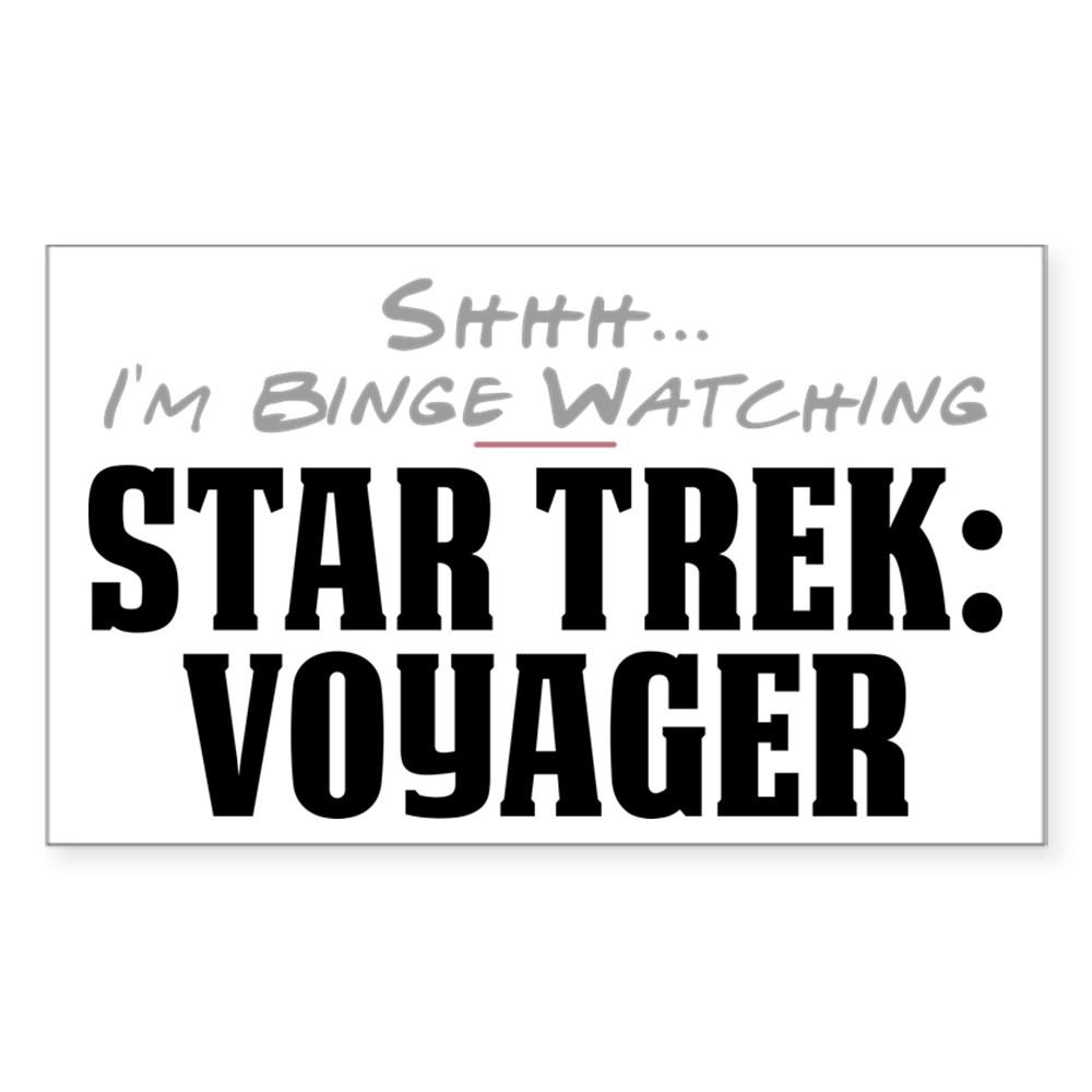 Shhh... I'm Binge Watching Star Trek: Voyager Rectangle Sticker