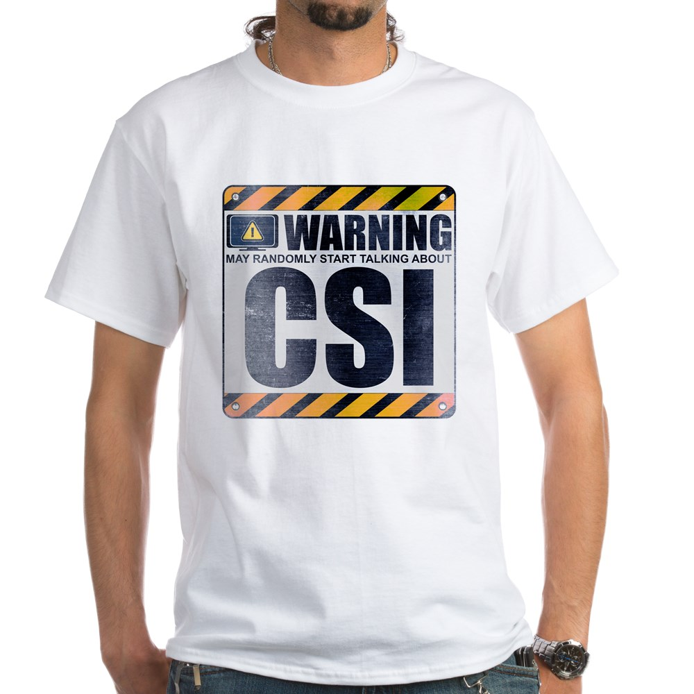Warning: CSI White T-Shirt