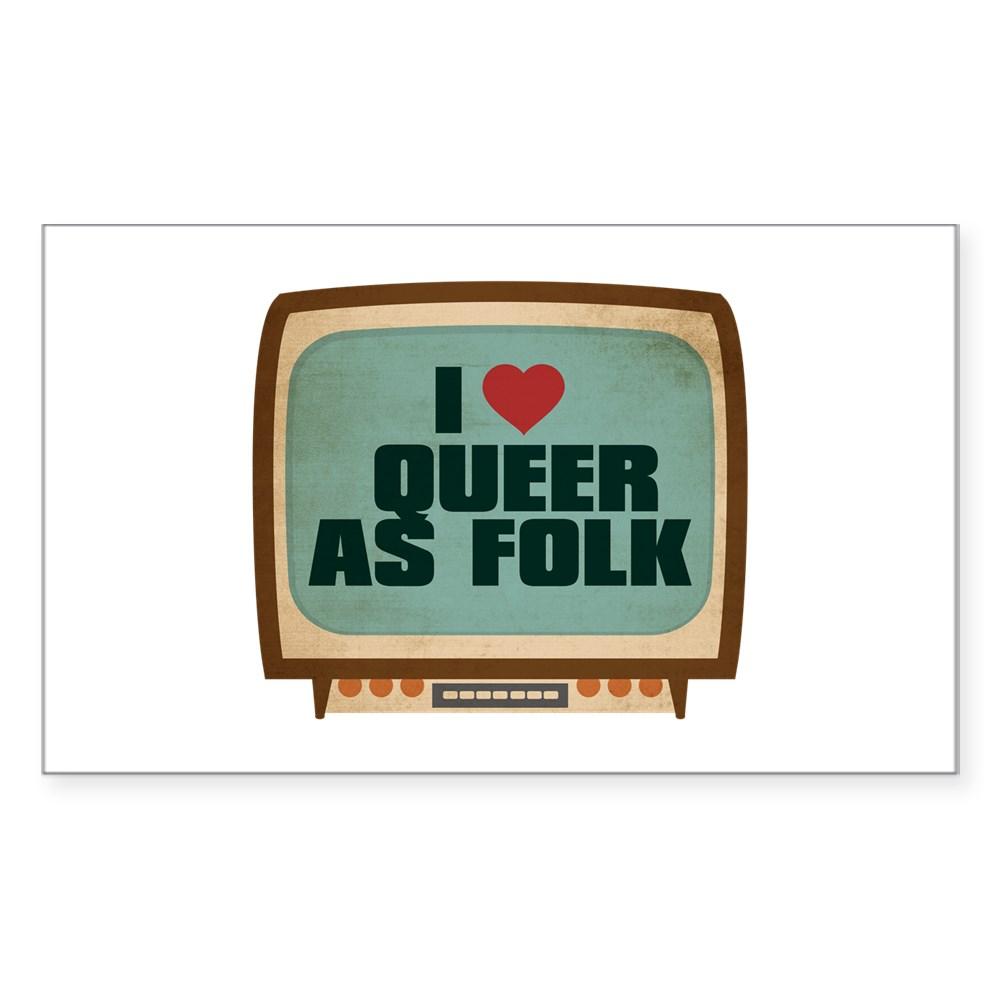 Retro I Heart Queer as Folk  Rectangle Sticker