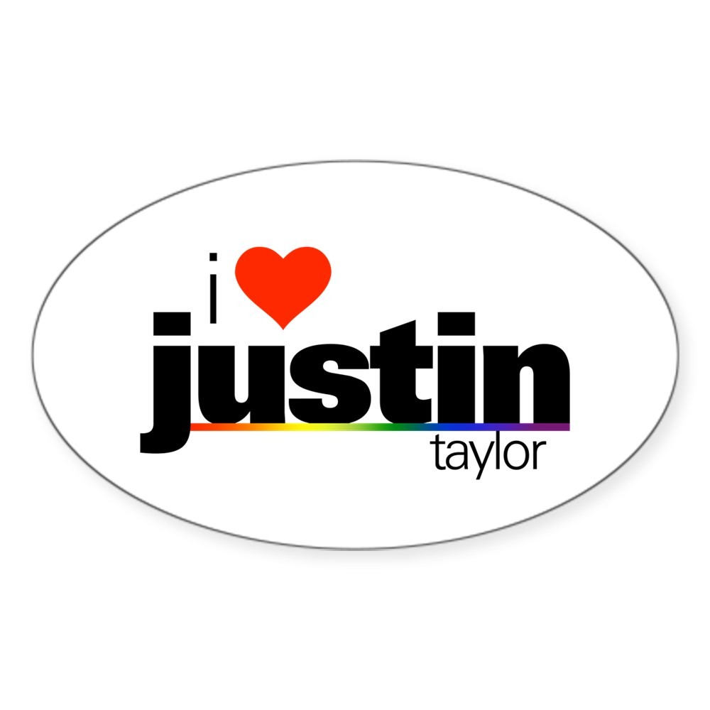 I Heart Justin Taylor Oval Sticker