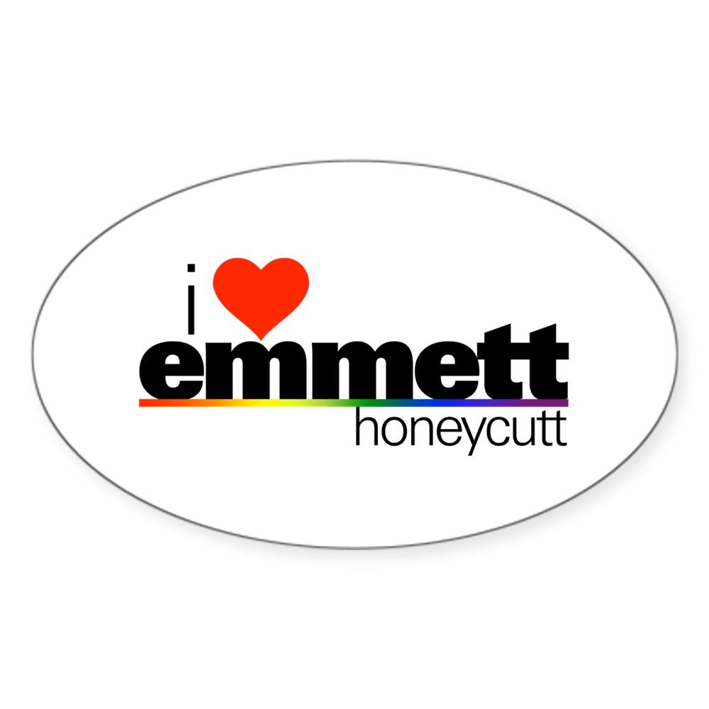 I Heart Emmett Honeycutt Oval Sticker