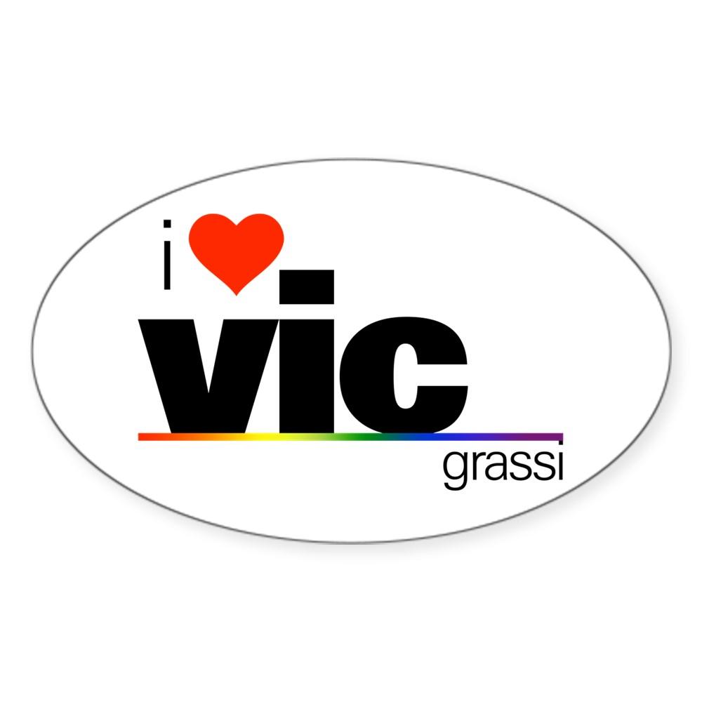 I Heart Vic Grassi Oval Sticker