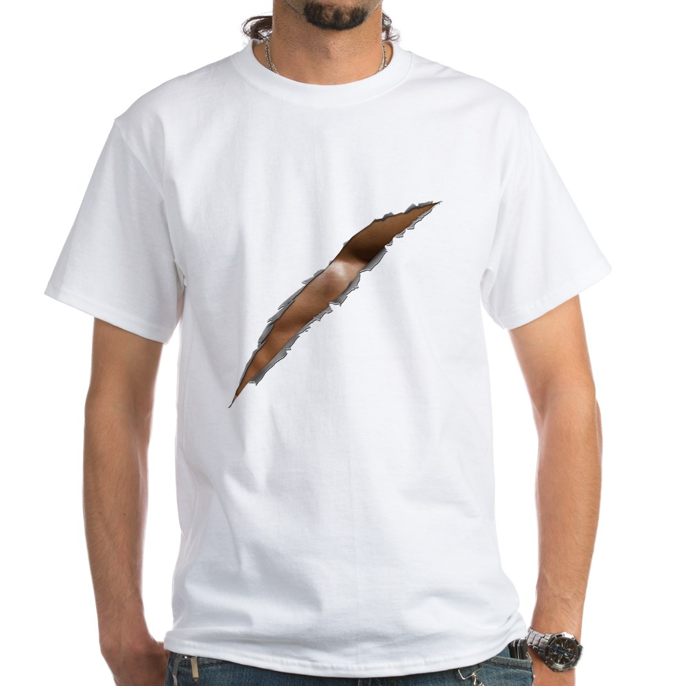 Rage Ripped Chest White T-Shirt