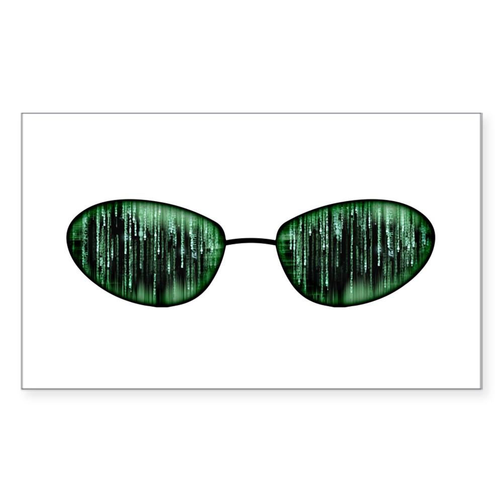 Neo Glasses Rectangle Sticker