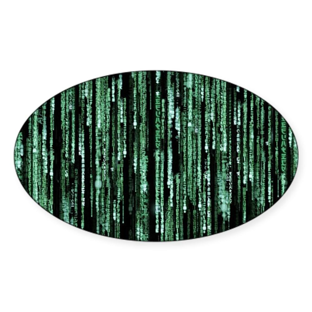 Matrix Code Oval Sticker