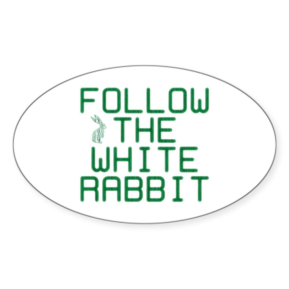 Follow the White Rabbit Oval Sticker