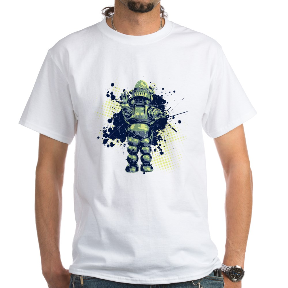 Distressed Robby the Robot White T-Shirt