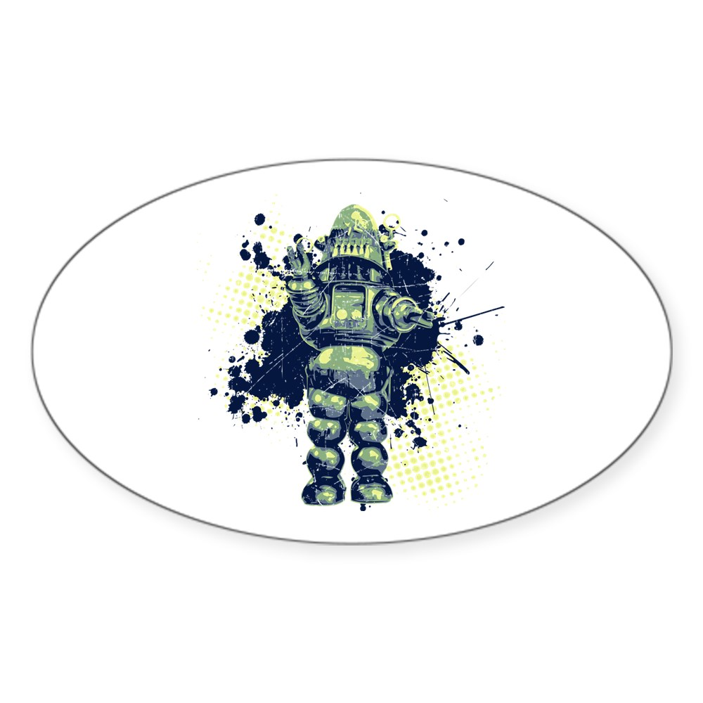 Distressed Robby the Robot Oval Sticker