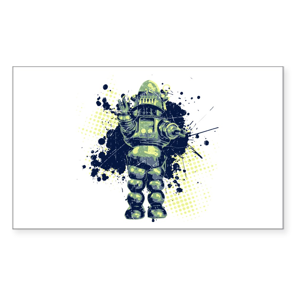 Distressed Robby the Robot Rectangle Sticker