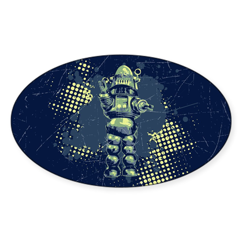 Robby the Robot Oval Sticker