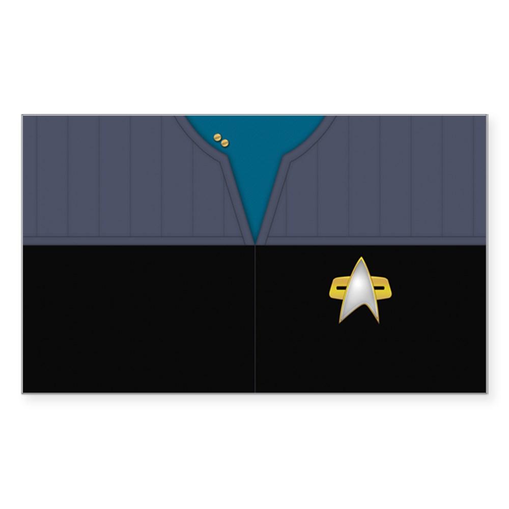 DS9 Starfleet Uniform: Science/Medical - Lieutenant Rectangle Sticker