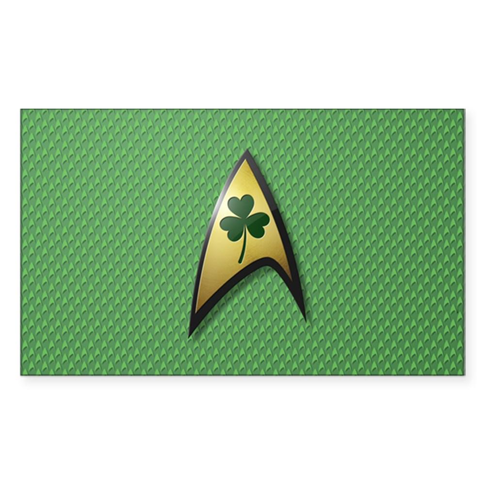 Star Trek Shamrock Rectangle Sticker