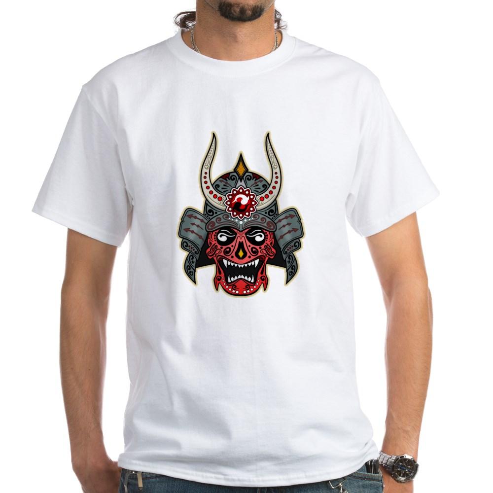 Japanese Samurai Demon Sugar Skull White T-Shirt