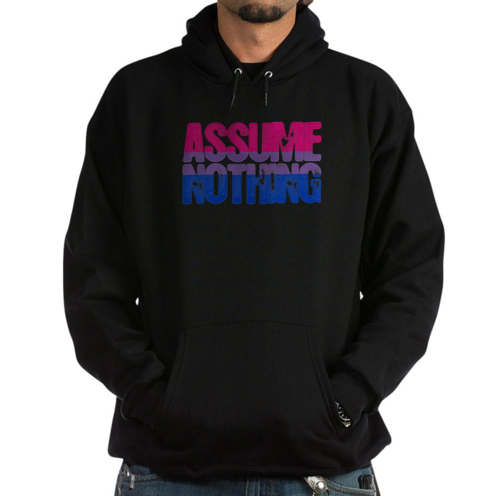 Assume Nothing - Bisexual Pride Dark Hoodie