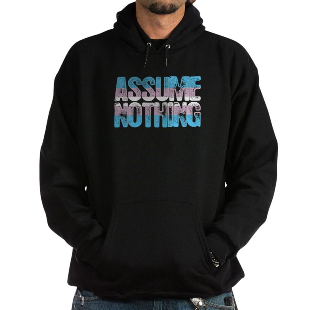 Assume Nothing Transgender Pride Dark Hoodie