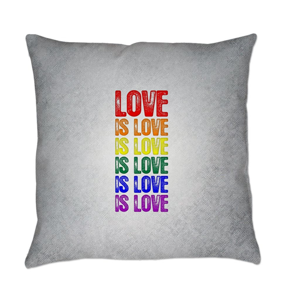 LGBT Gay Pride Flag Love is Love is Love Everyday Pillow