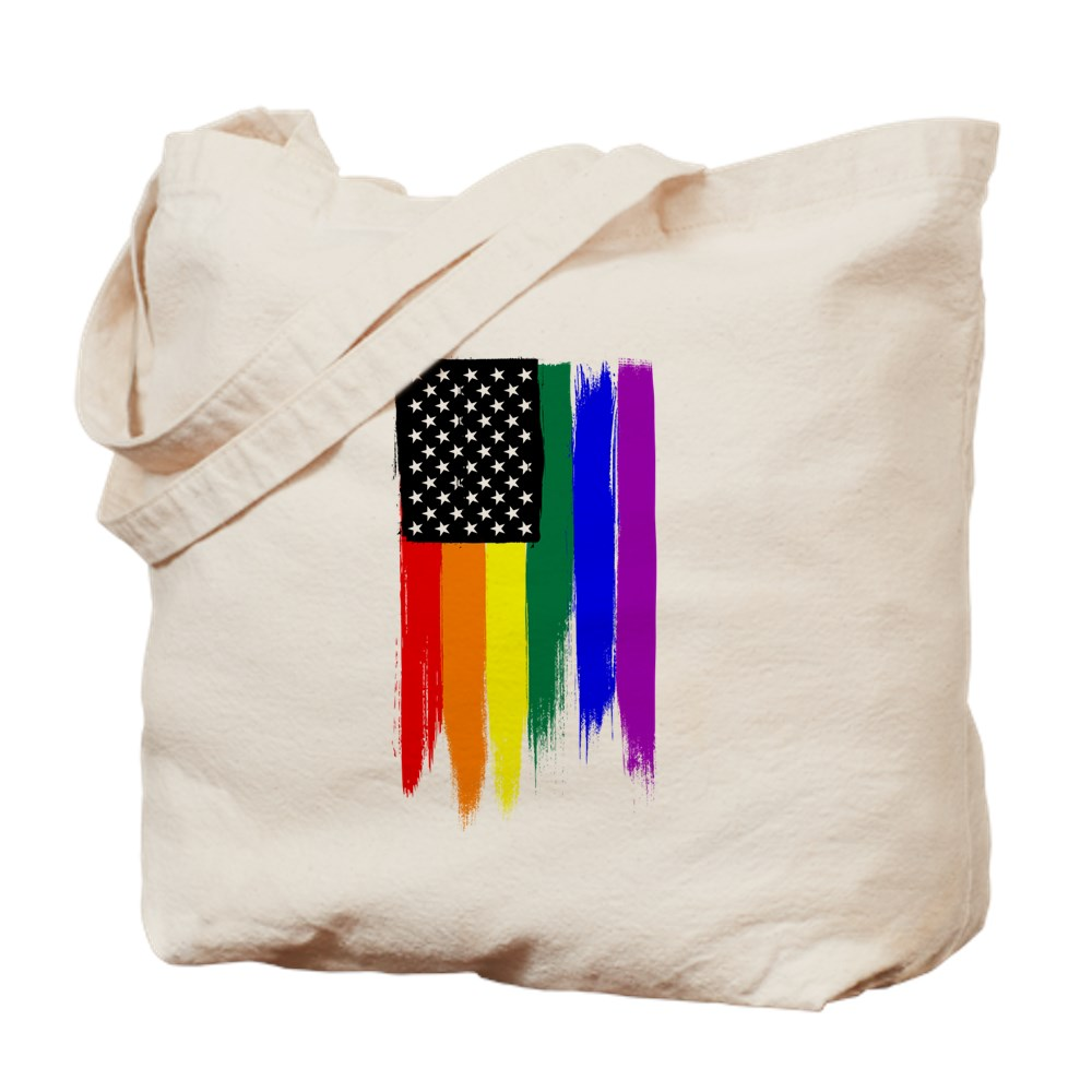 Rainbow Gay Pride Stars and Stripes American Flag Tote Bag
