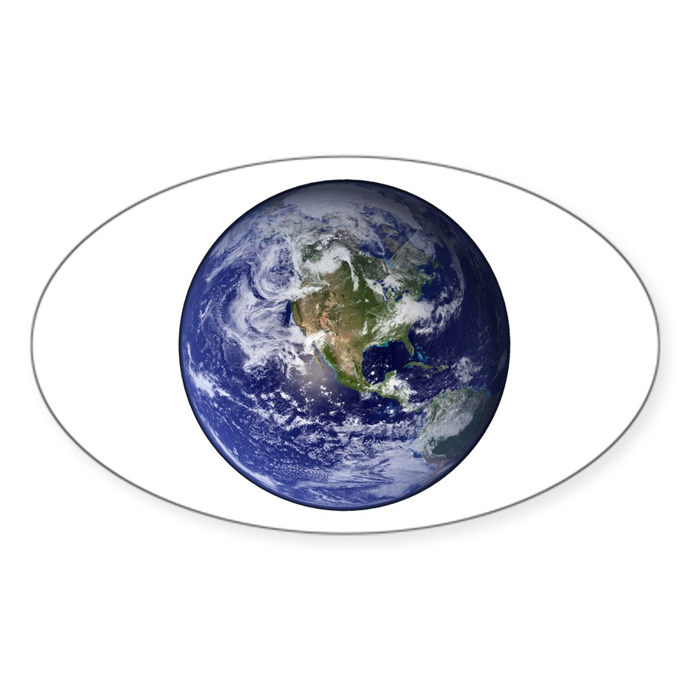 Western Earth from Space Oval Sticker