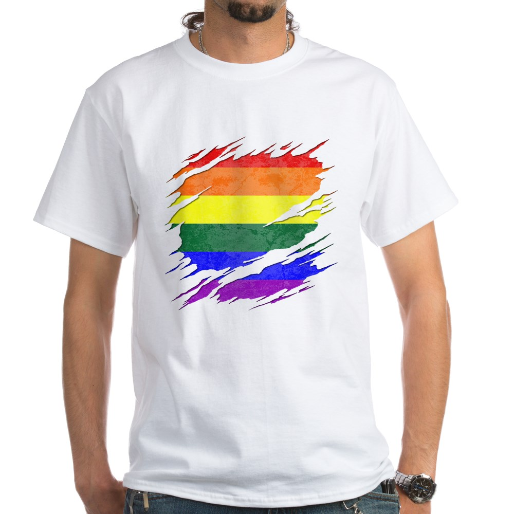 LGBT Gay Pride Flag Ripped Reveal White T-Shirt