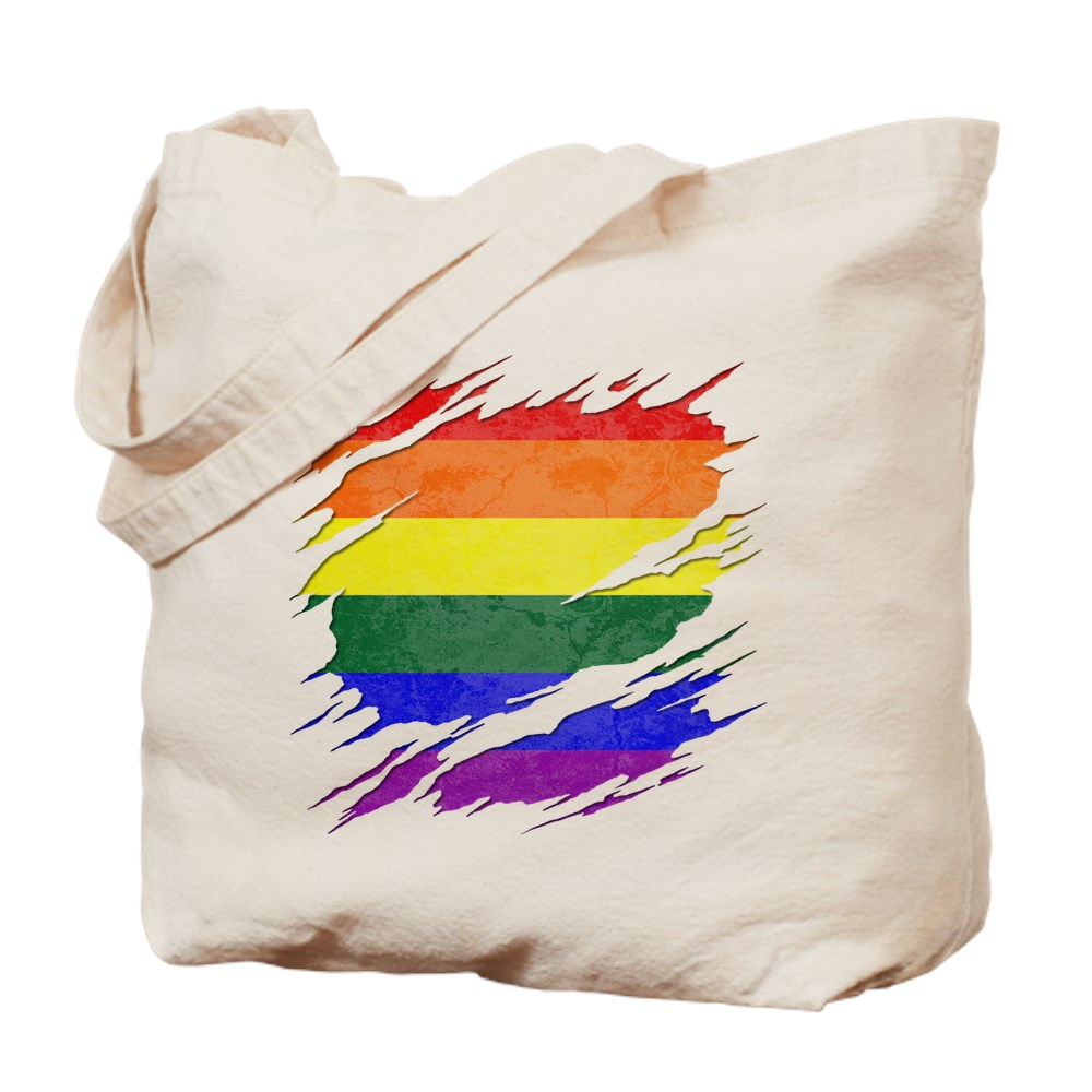 LGBT Gay Pride Flag Ripped Reveal Tote Bag