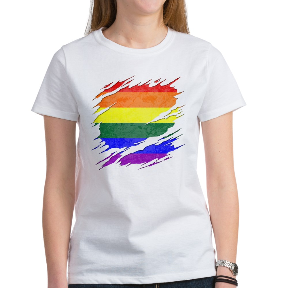 LGBT Gay Pride Flag Ripped Reveal Women's T-Shirt