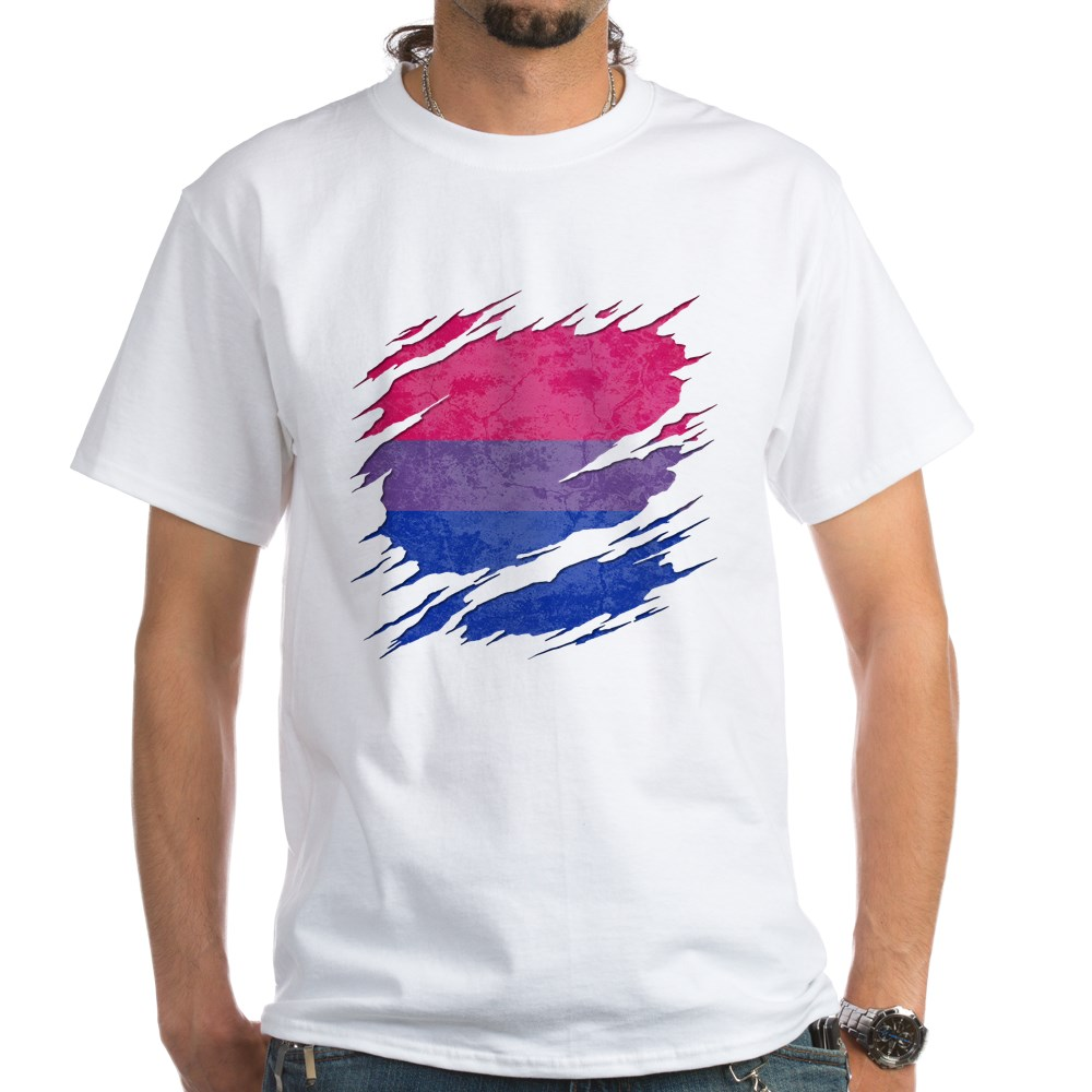 Bisexual Pride Flag Ripped Reveal White T-Shirt