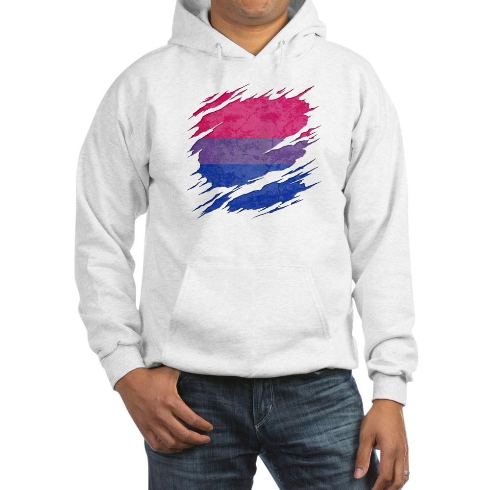 Bisexual Pride Flag Ripped Reveal Hooded Sweatshirt