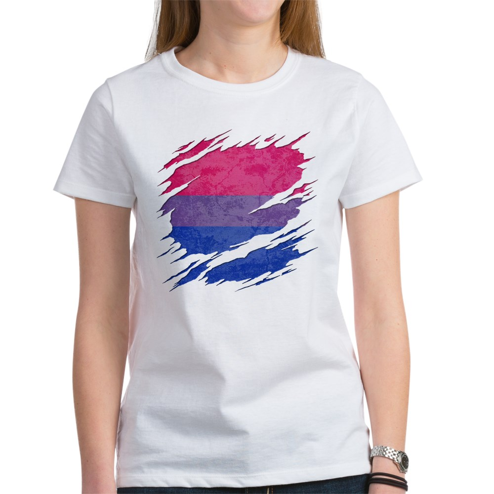 Bisexual Pride Flag Ripped Reveal Women's T-Shirt