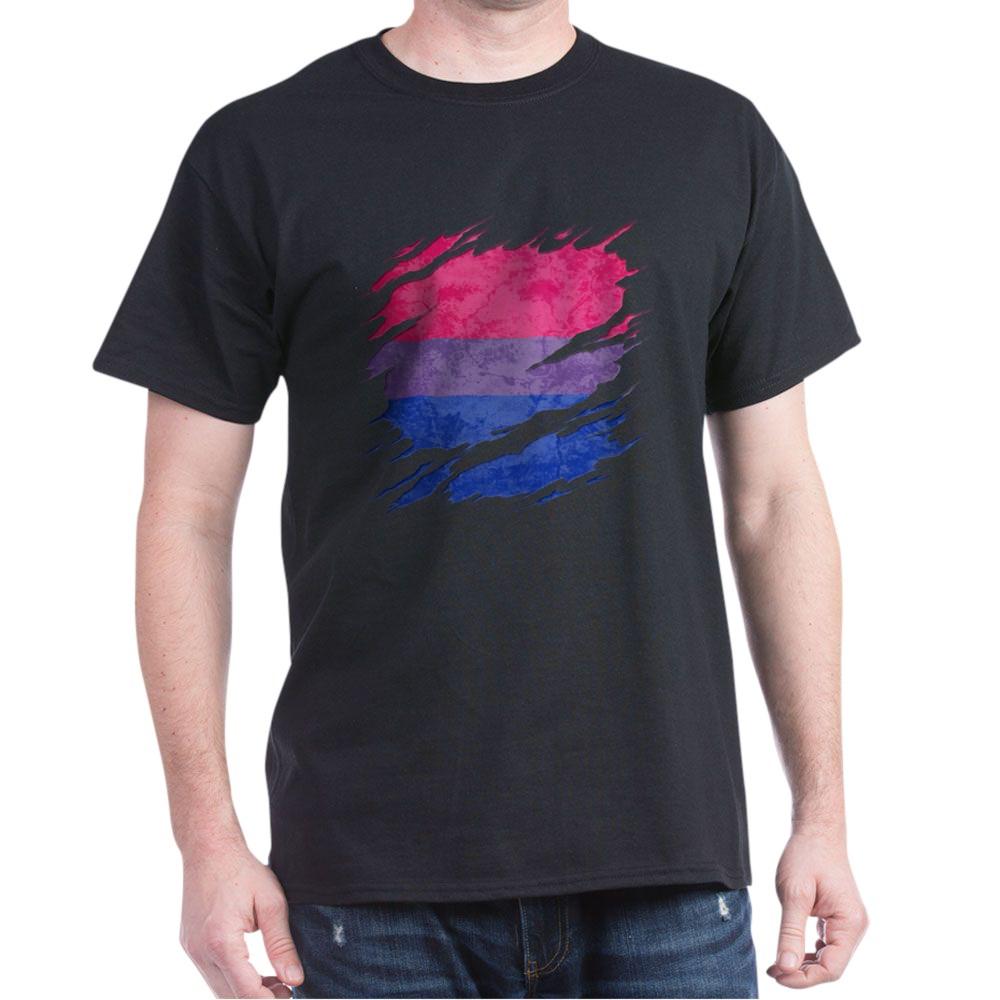 Bisexual Pride Flag Ripped Reveal Dark T-Shirt