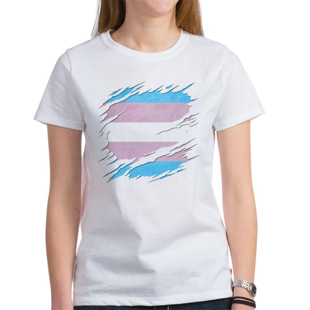 Transgender Pride Flag Ripped Women's T-Shirt
