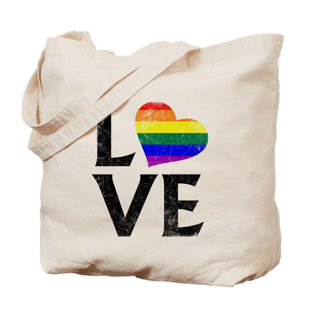 LGBT Gay Pride Flag Heart Stacked Love Tote Bag