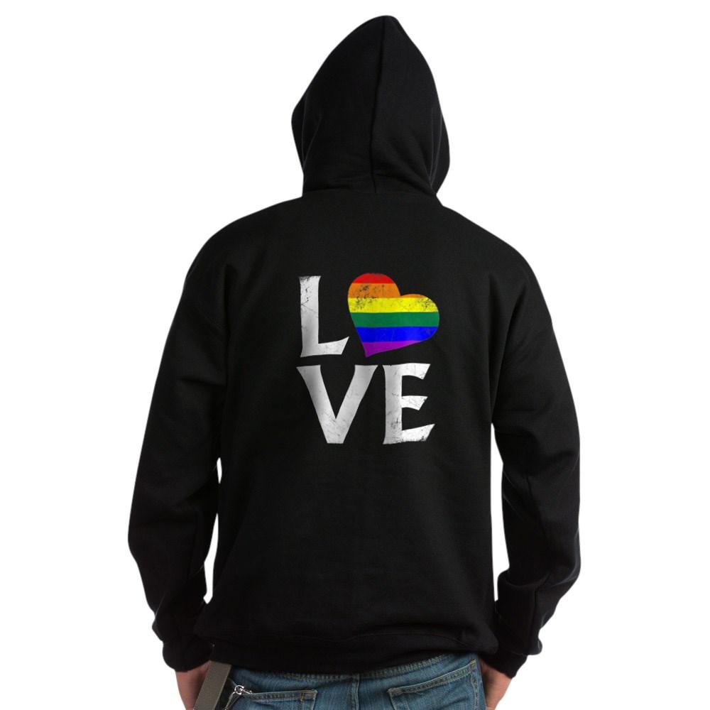 LGBT Gay Pride Flag Heart Stacked Love Dark Hoodie