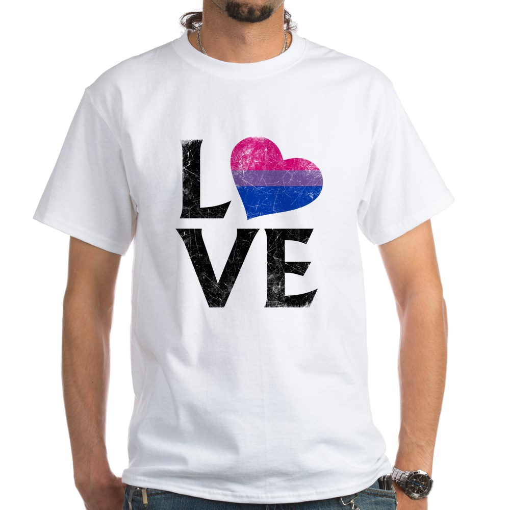 Bisexual Pride Flag Heart Stacked Love White T-Shirt