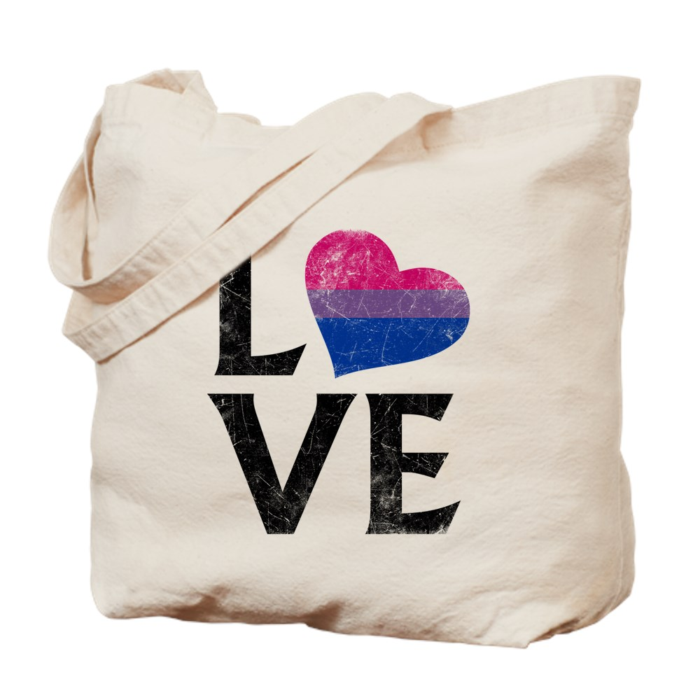 Bisexual Pride Flag Heart Stacked Love Tote Bag