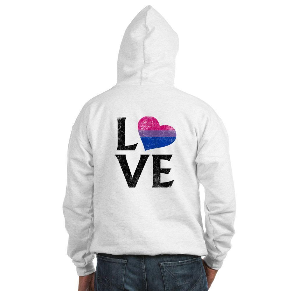 Bisexual Pride Flag Heart Stacked Love Hooded Sweatshirt