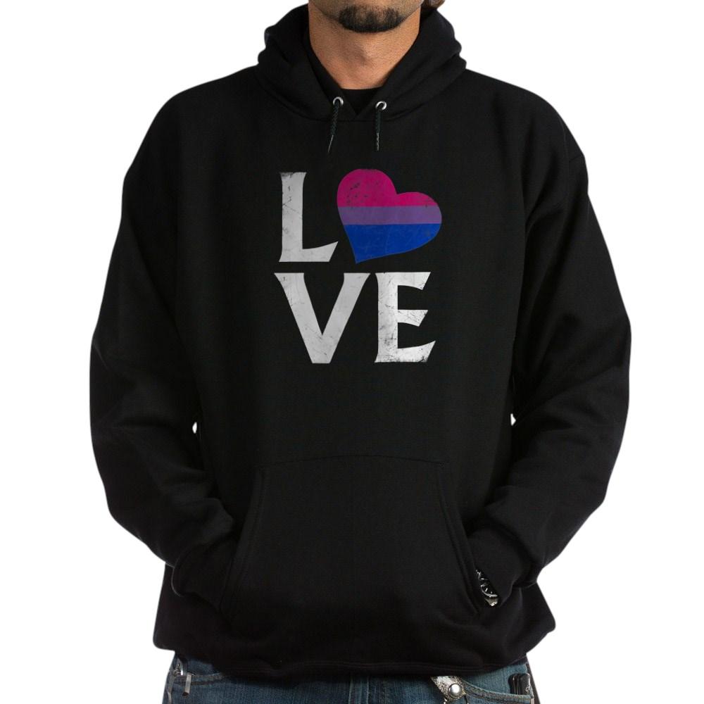 Bisexual Pride Flag Heart Stacked Love Dark Hoodie