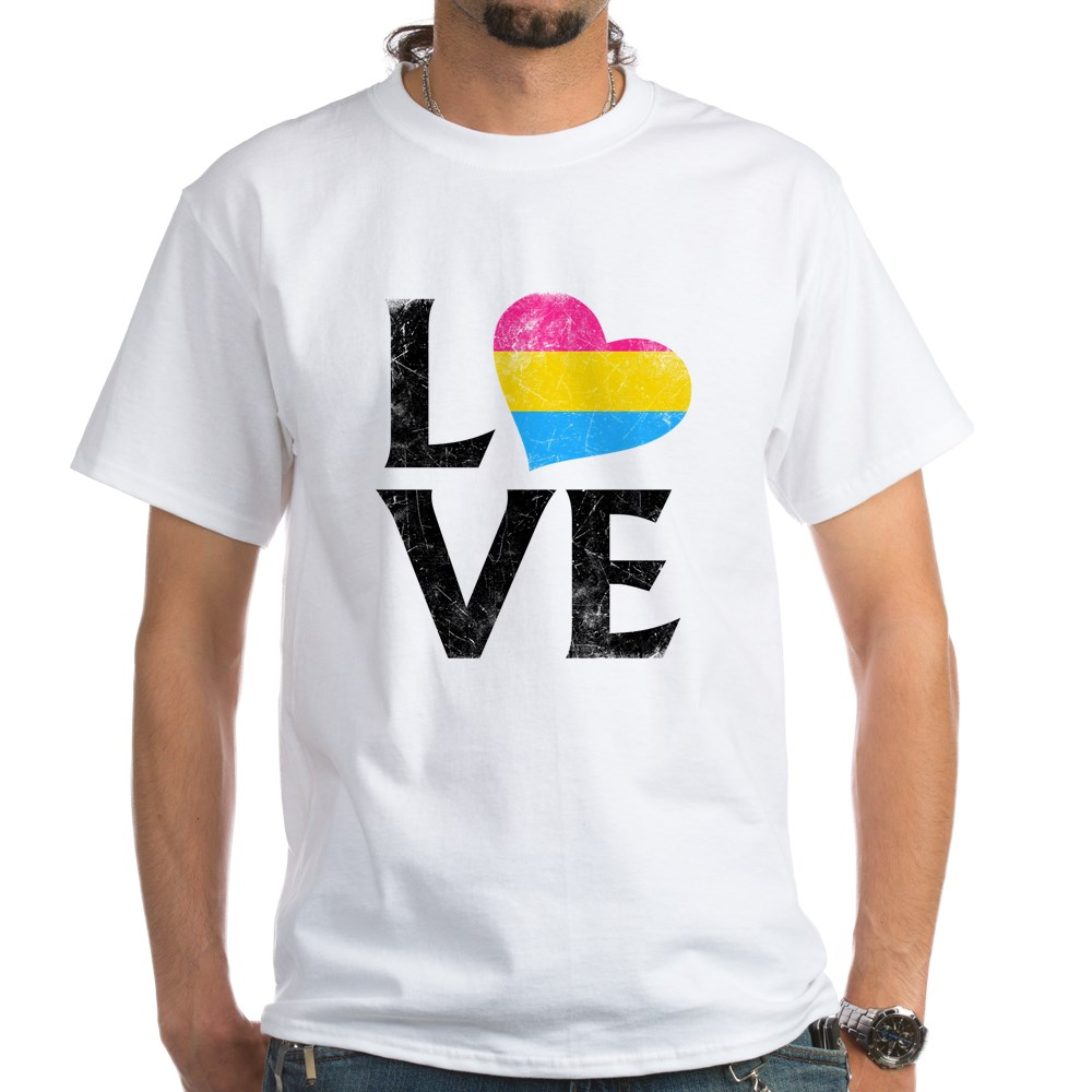 Pansexual Pride Flag Heart Stacked Love White T-Shirt