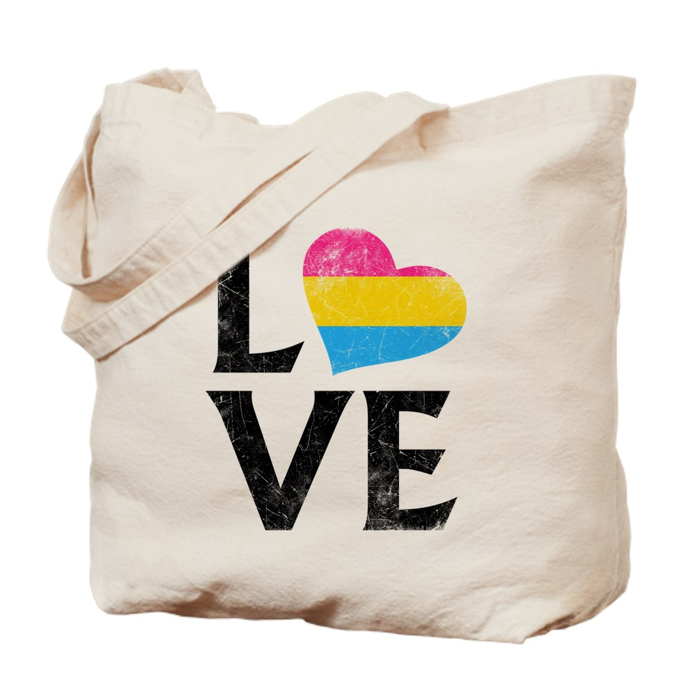 Pansexual Pride Flag Heart Stacked Love Tote Bag