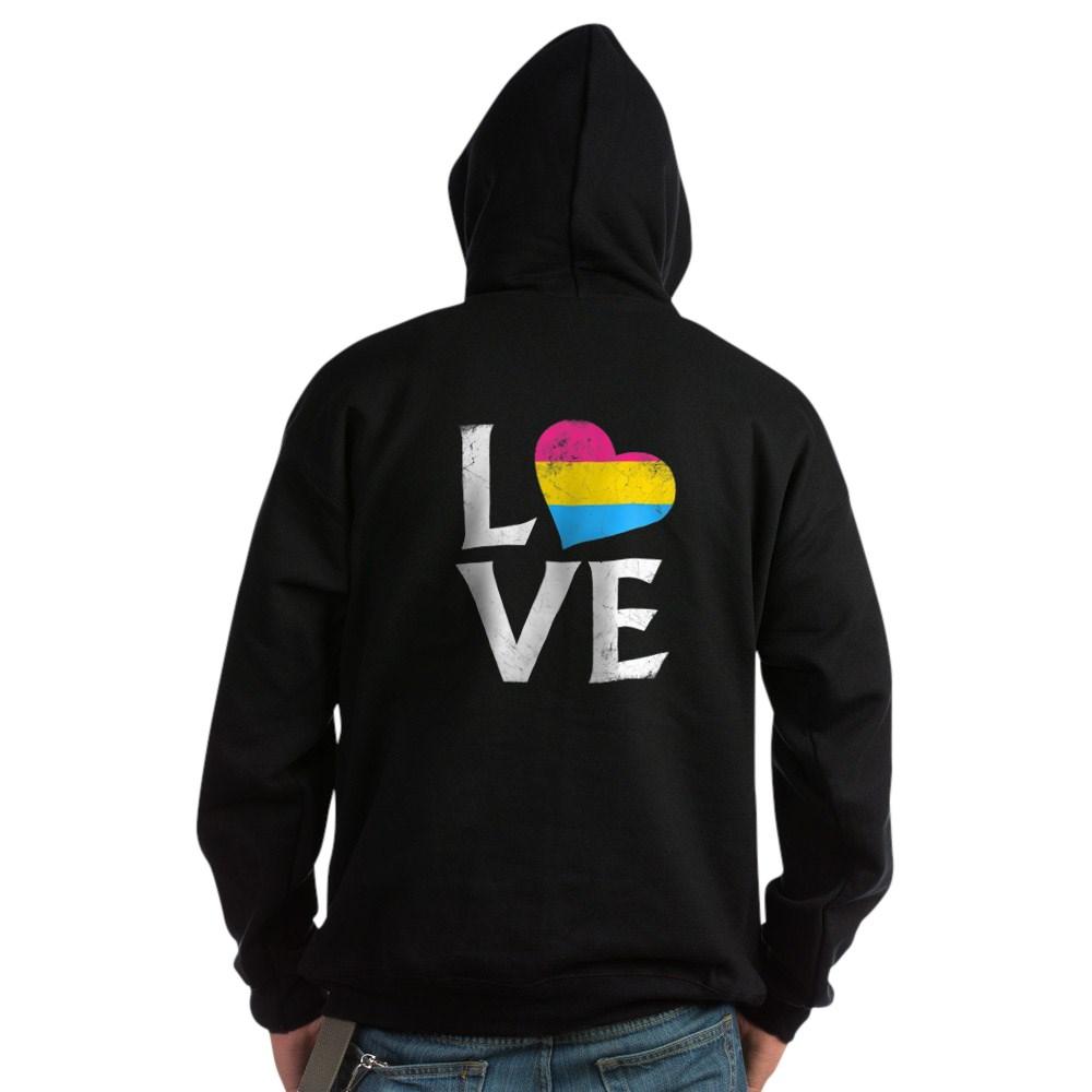 Pansexual Pride Flag Heart Stacked Love Dark Hoodie