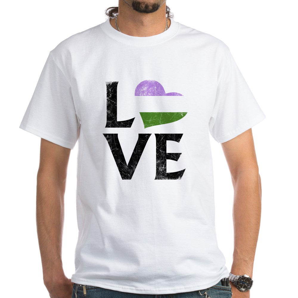 Genderqueer Pride Flag Heart Stacked Love White T-Shirt