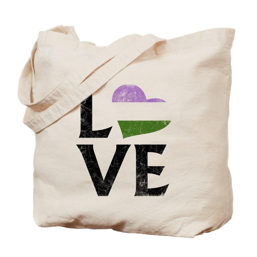 Genderqueer Pride Flag Heart Stacked Love Tote Bag