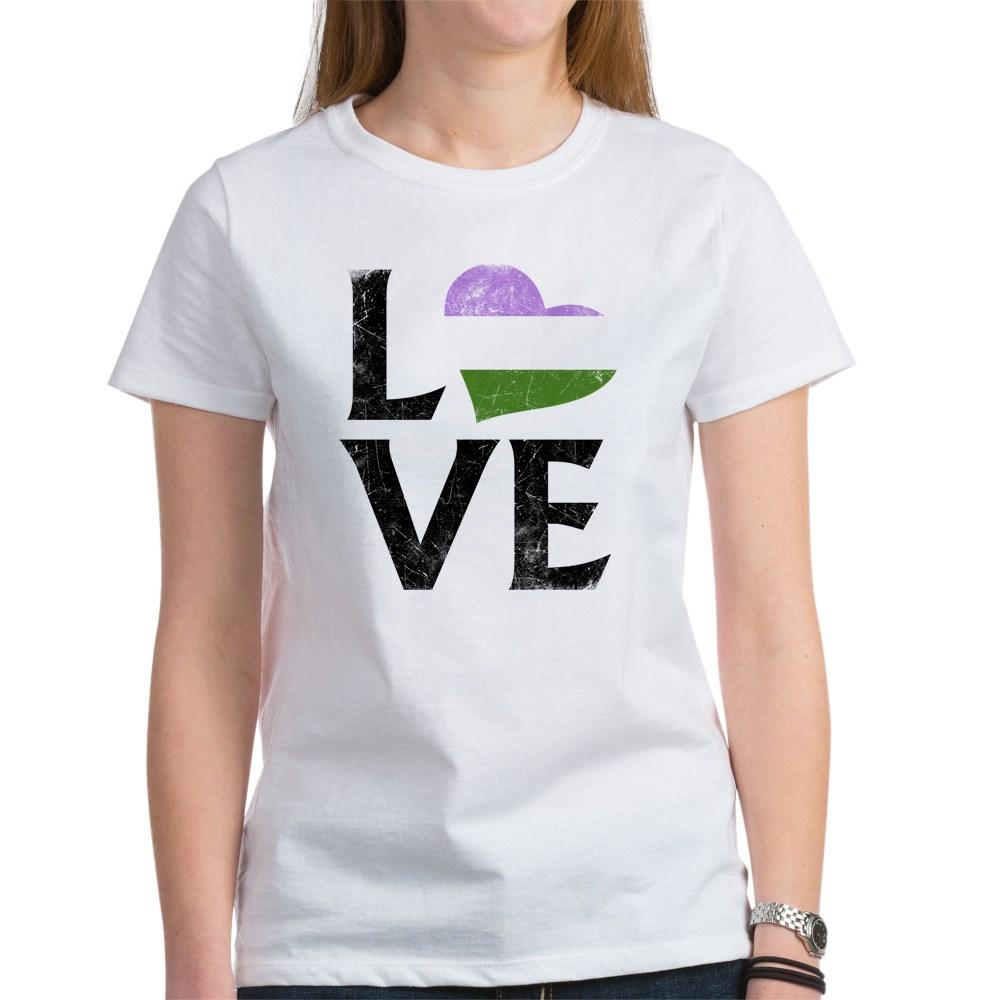 Genderqueer Pride Flag Heart Stacked Love Women's T-Shirt