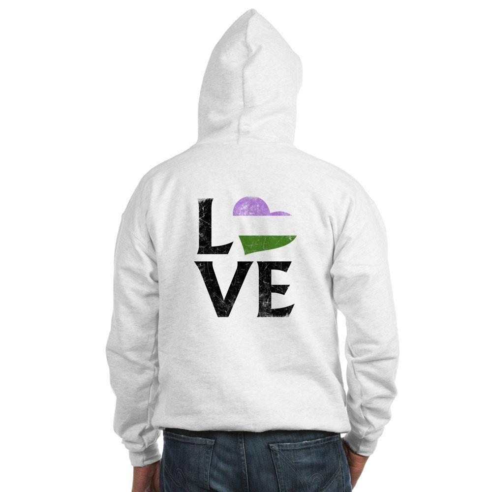 Genderqueer Pride Flag Heart Stacked Love Hooded Sweatshirt