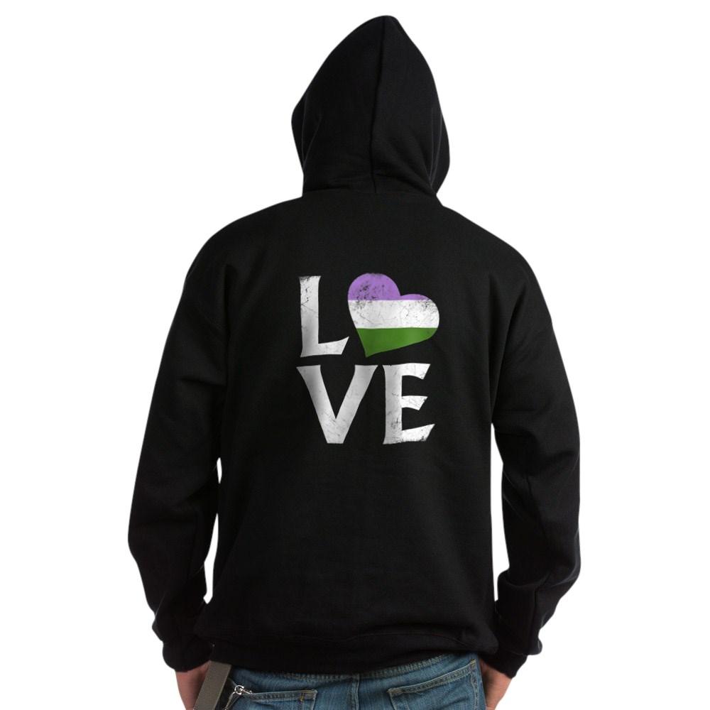 Genderqueer Pride Flag Heart Stacked Love Dark Hoodie
