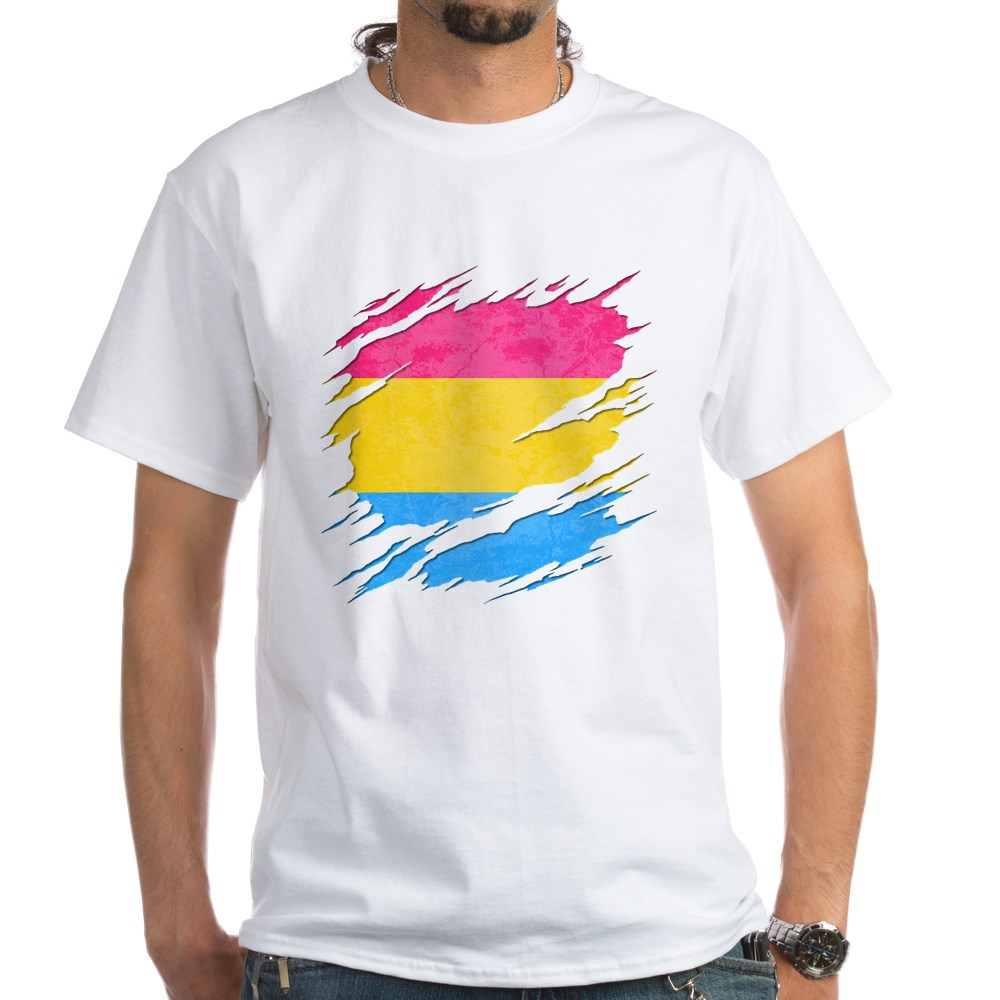 Pansexual Pride Flag Ripped Reveal White T-Shirt