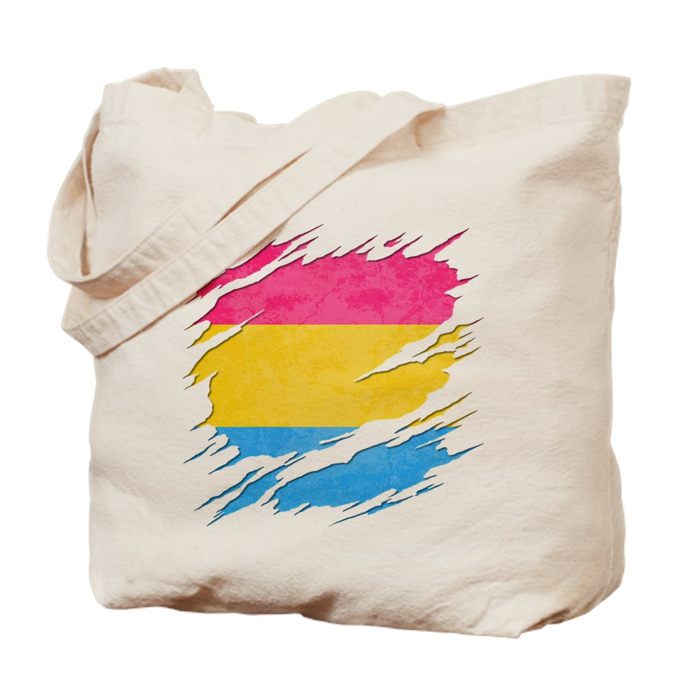 Pansexual Pride Flag Ripped Reveal Tote Bag