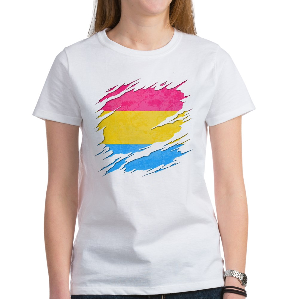 Pansexual Pride Flag Ripped Reveal Women's T-Shirt