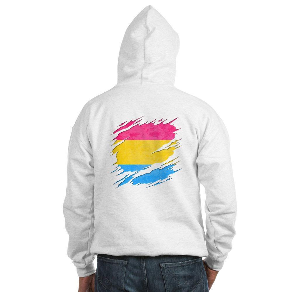 Pansexual Pride Flag Ripped Reveal Hooded Sweatshirt