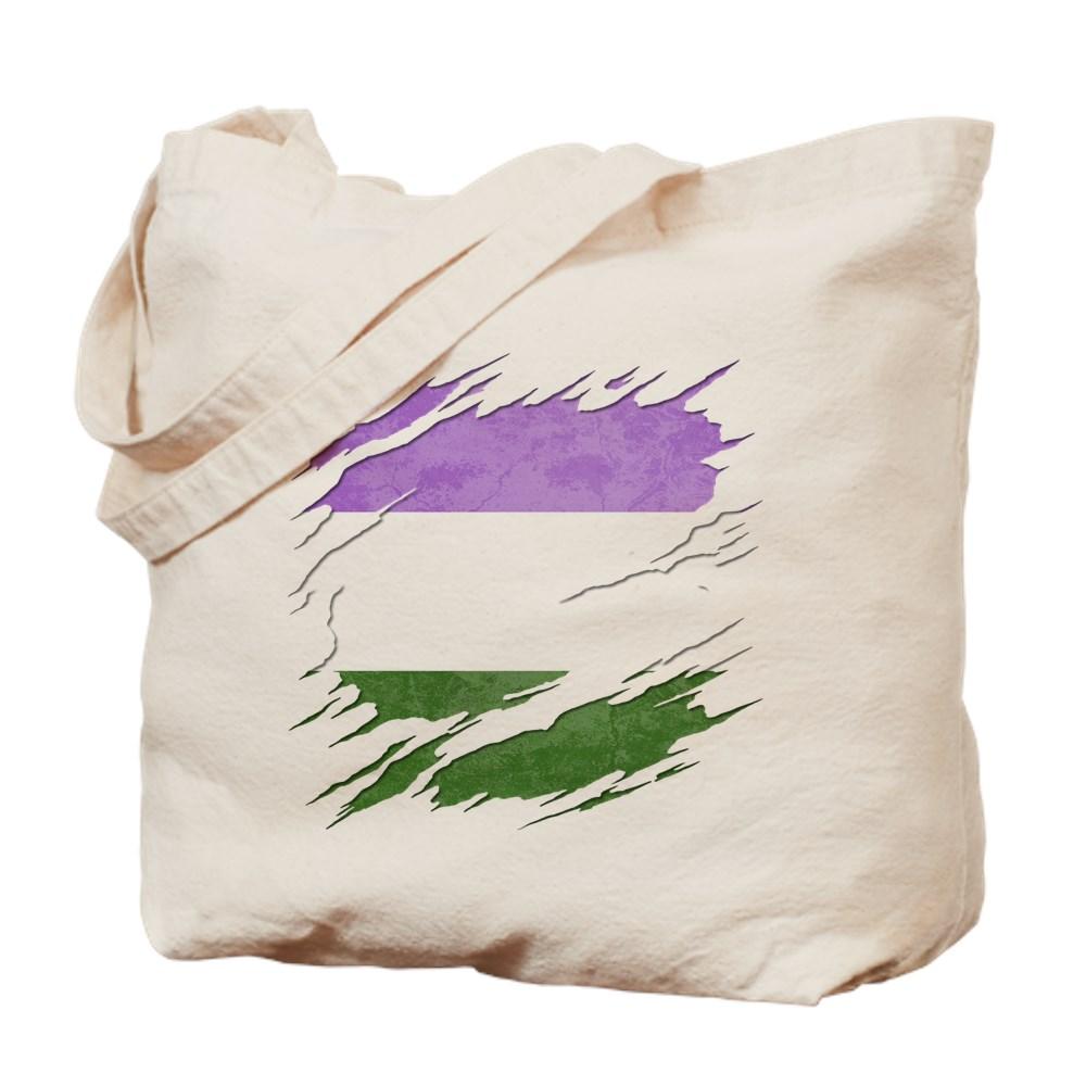Genderqueer Pride Flag Ripped Reveal Tote Bag